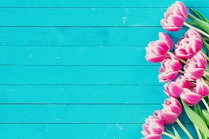 Peony tulips vintage background
