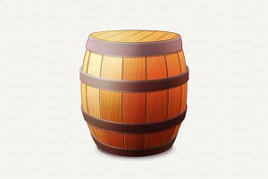 ♥ vector Wooden barrel