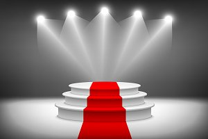 3d Illuminated stage podium vector