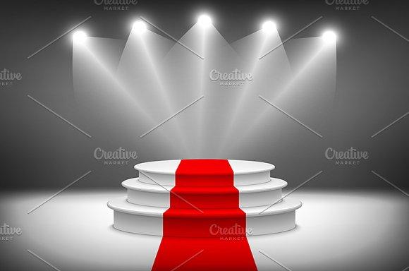 3d Illuminated stage podium vector in Graphics