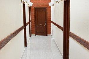 Light hall with marble flour