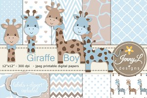 Giraffe Boy Digital Paper & Clipart