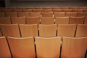 Empty chairs in the cinema
