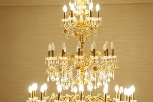 Beautiful crystal ancient chandelier