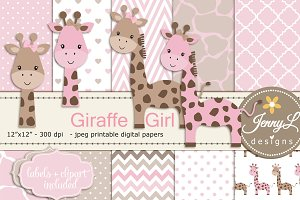 Girl Giraffe Digital Paper & Clipart