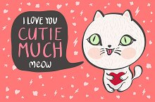 I love you cutie much Vector cat