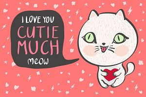 I love you cutie much Vector cat