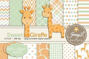 Baby Giraffe Digital Paper & Clipart