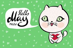 Cartoon cat with Hello May meow