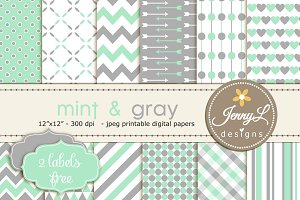 Mint & Gray Digital Papers