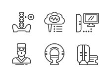 Magnetic resonance imaging icons set