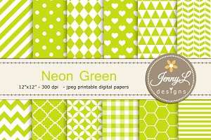 Neon Green Digital Paper