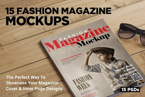 15 Fashion Magazine Mockups Vol. 6