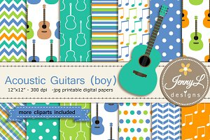 Guitar Boy Digital Paper & Clipart