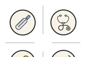 Medical equipment icons. Vector