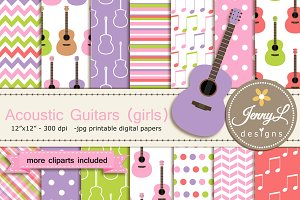 Guitar Girl Digital Paper & Clipart