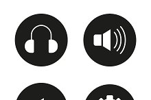 Music player icons. Vector