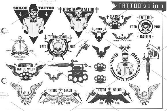 20 In 1 Tattoo Design Elements Icons Creative Market