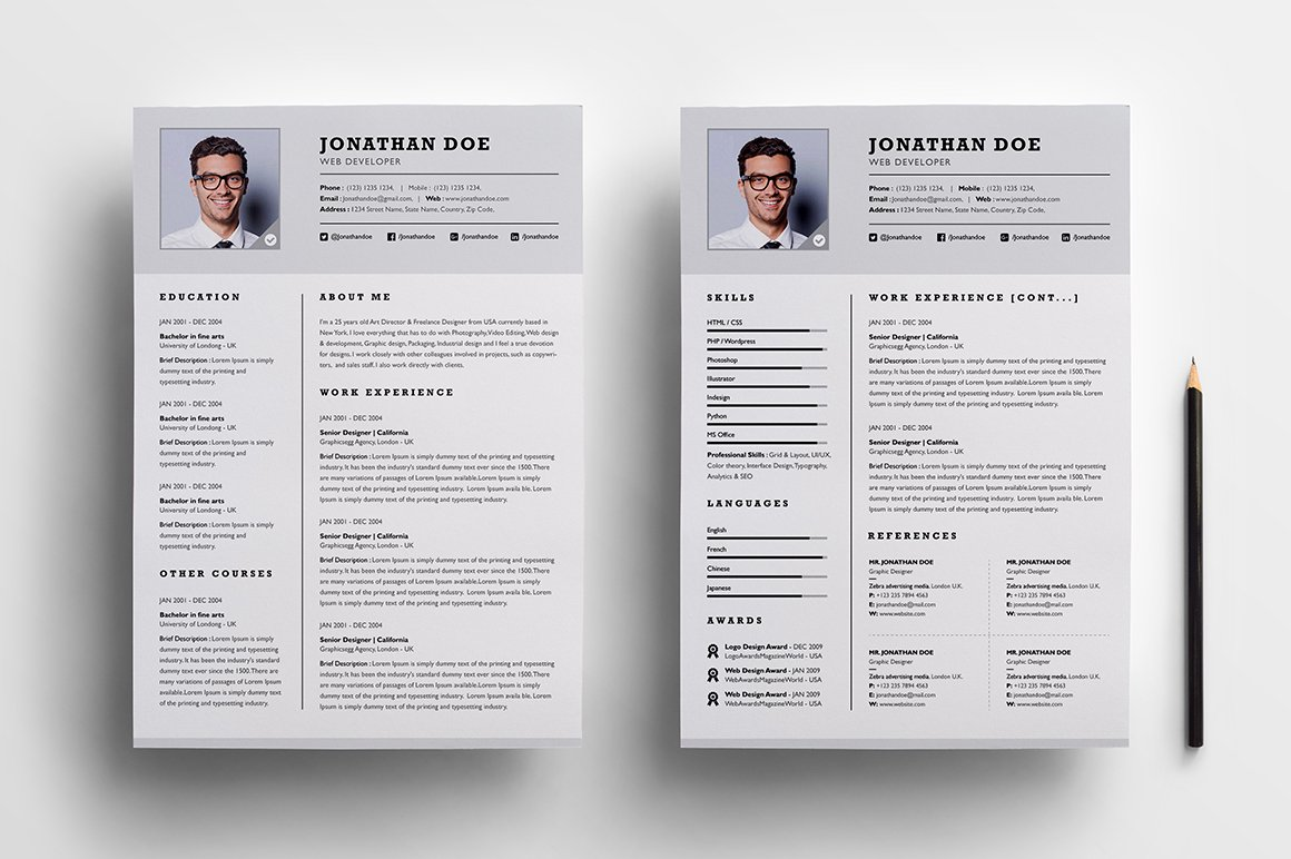 professional two page resume set resume templates creative market - 2 Page Resume