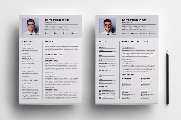 Professional two page resume set ~ Resume Templates ~ Creative Market