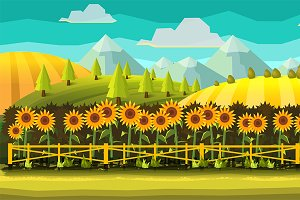 Sunflowers Cartoon Background