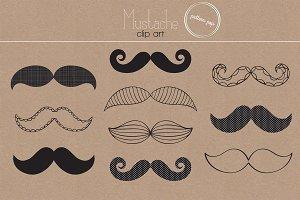 Mustache Clip Art Set