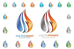 3D Water drop, 3D Liquid Energy logo