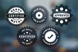 "Vintage ""Gear"" Badges Vector Pack"