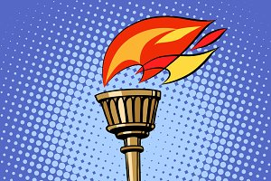 sports torch, fire torchbearer