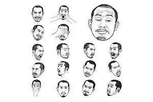Drawing set of Asian man's face