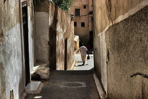 Man walking in moroccan streets