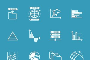 Data storage and data analysis icons