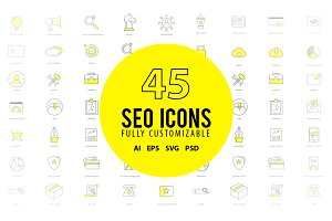 45 SEO Services Icons