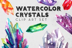 Watercolor Crystals Clipart Set