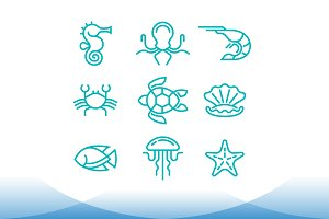 marine life symbol set