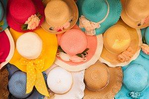Colourful beach hat