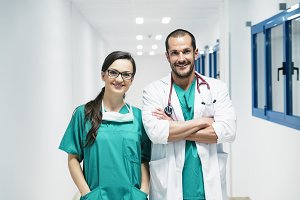 Doctor and nurse working in hospital