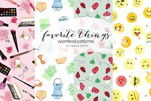 Watercolor Seamless Patterns - Fun