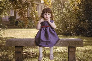 Little girl with blue dress