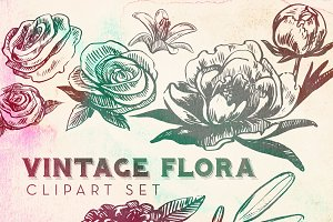 Vintage Flora Vector Clipart Set
