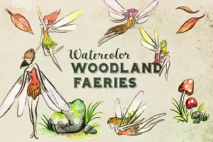 Watercolor Woodland Faeries Clipart