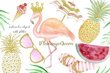 Watercolor summer elements with gold