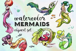 Watercolor Mermaids Clipart Set