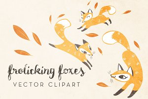 Cute Foxes Vector Clipart