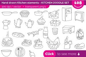 Hand drawn Kitchen doodle, clipart