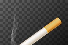 Vector cigarette with white smoke