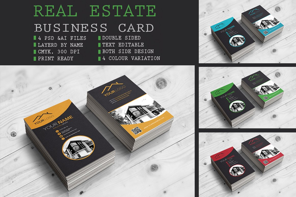 Real estate business card business card templates creative market reheart Choice Image
