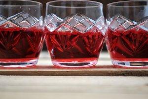 glasses of red liquor