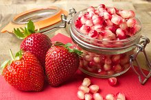 Pomegranate and Strawberries