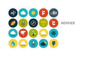Flat icons set - Weather